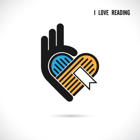 bookseller: Creative book and heart abstract vector logo design.Book Store,library logo design.Learning,study idea icon.Love Books Heart symbol.Education or business creative logotype concept. Vector illustration Illustration