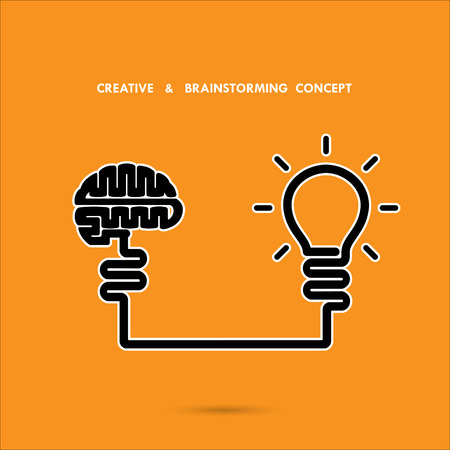 science symbols: Creative brainstorm concept ,business and education idea, innovation and solution, creative design Illustration