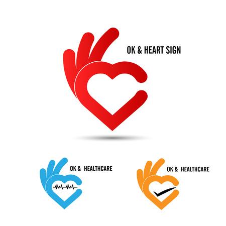 ottimo: mano creatrice e cuore forma astratta design.Hand simbolo Ok icon.Healthcare e icona medica. Felice simbolo giorno di S. Valentino. Vettoriali