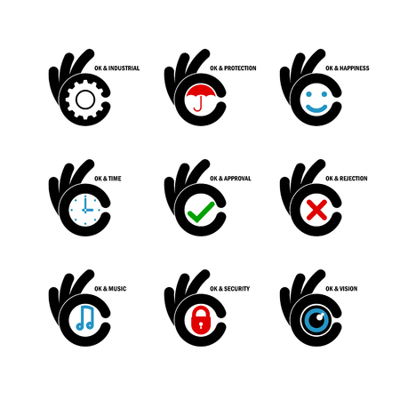 ok symbol: Creative B letter icon abstract design template.Letter B fingers vector sign.Hand Ok symbol icon.