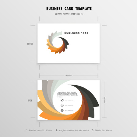 50mm: Abstract Creative Business Cards Design Template. Name Cards Symbol. Size 55 mm x 90 mm (2.165 in x 3.54 in).Vector illustration