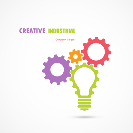 Creative light bulb and gear abstract vector design banner template.