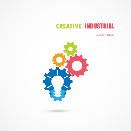 vision concept: Creative light bulb and gear abstract vector design banner template.
