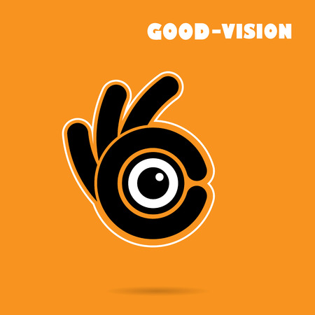 ok: Creative hand icon abstract logo design vector template.Vision sign. Illustration
