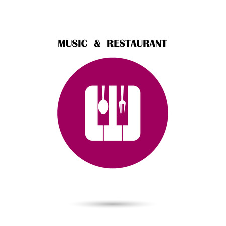 musique: Creative Music and Restaurant icon abstract logo design vector template. Illustration