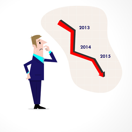 regress: Business man confused stock market arrow.Sad businessman with graph indicating a regression. The concept of business failure, bankruptcy. Vector illustration Illustration