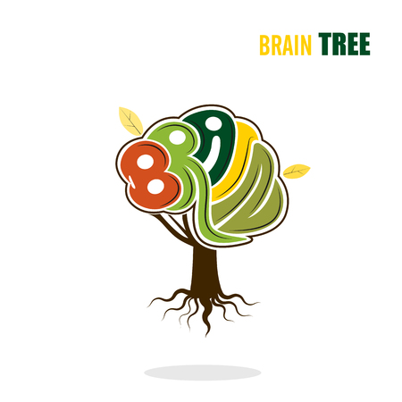 Abstract vector brain tree logo template.Think green concept.Business ,industrial and eduction concept.Vector illustration.