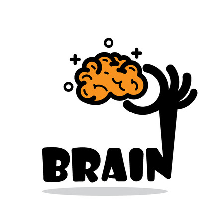 inspiration education: Creative brain sign idea,flat design.Concept of ideas inspiration, innovation, invention, effective thinking, knowledge and education. Business and concept and businessman hand.Vector illustration Illustration