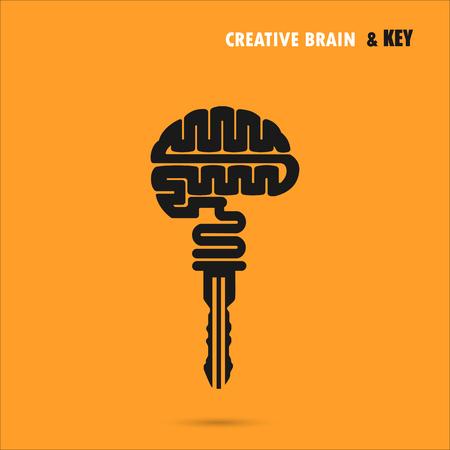 signo cerebro creativo con el símbolo de una llave. Clave de success.Concept de inspiración de ideas, innovación, invención, pensamiento efectivo y el conocimiento. Negocios y concepto de la idea de la educación. Ilustración del vector.