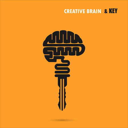 Creative brain sign with key symbol. Key of success.Concept of ideas inspiration, innovation, invention, effective thinking and knowledge. Business and education idea concept. Vector illustration.
