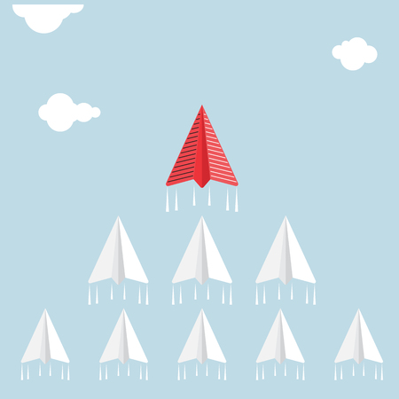 Creative paper rocket sign and white cloud on blue sky. Illustration