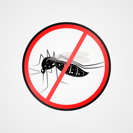 yellow fever: Anti mosquito symbol.Mosquito warning sign.Mosquitoes carry many disease such as dengue fever, zika disease, yellow fever, chikungunya disease, filariasis, malaria.Vector illustration. Illustration