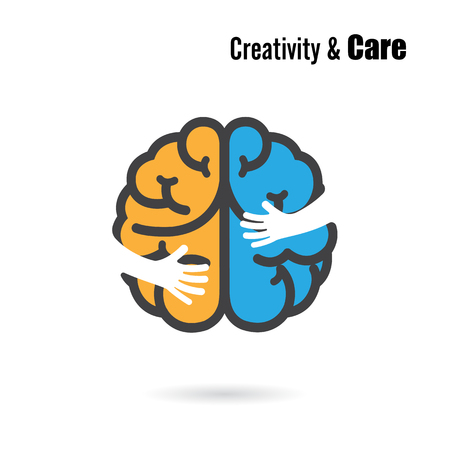 idea sketch: Creative brain logo design vector template with small hand. Illustration