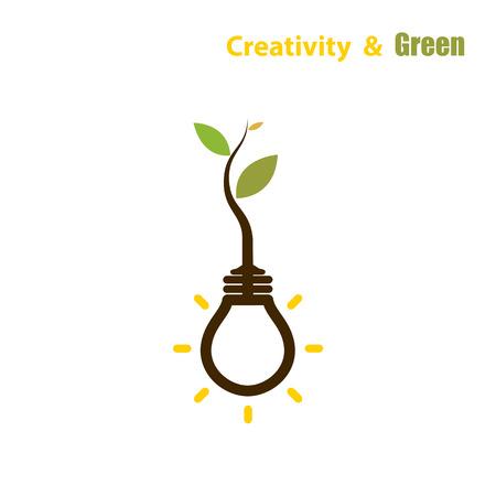 eco energy: Plant growing inside the light bulb.Green eco energy concept.
