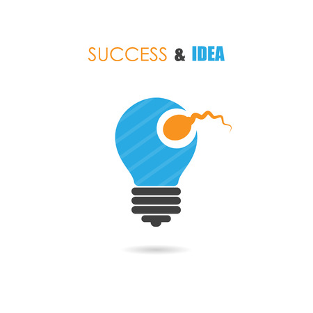 semen: Sperm symbol and light bulb sign.Creative idea and success icon.Business and education concept.Vector illustration