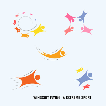 brand activity: Wingsuit Flying.Wingsuit flight.Healthcare and sport logo icon concept.Vector illustration
