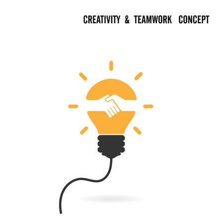 metaphoric: Creative light bulb idea and handshake sign concept background.Business agreement design.Teamwork or partnership concept.Vector illustration Illustration