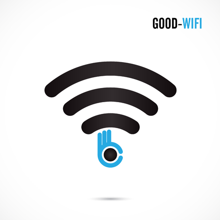 hotspot: Wifi sign and hand icon vector design.Hand Ok symbol.Good wifi hotspot icon.Corporate business and industrial idea.Vector illustration