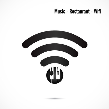 musique: Wifi sign,music and restaurant icon vector design.Wifi,spoon and fork symbol.Music and restaurant wifi hotspot icon.Corporate business and industrial idea. Vector illustration