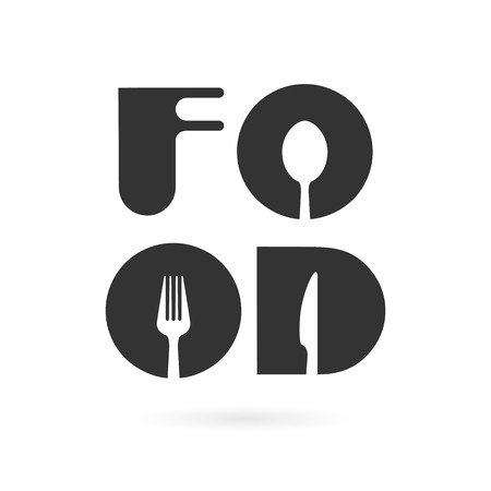 spoon: Creative food word elements design with spoon,knife and fork.Fast food, food and drink concept.Vector illustration