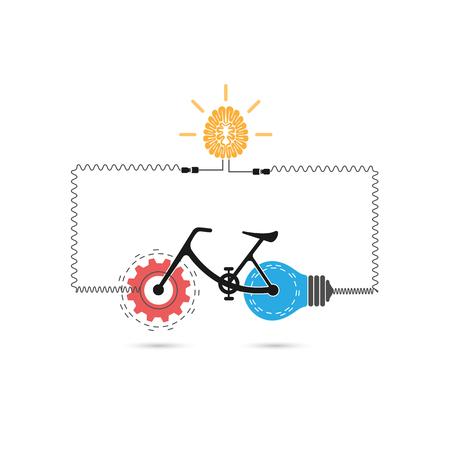 silueta ciclista: vector de diseño creativo de la bicicleta con la muestra de artes y de la luz de bulbo symbol.Bicycle sign.Business silueta del jinete, la educación y el concepto industrial.
