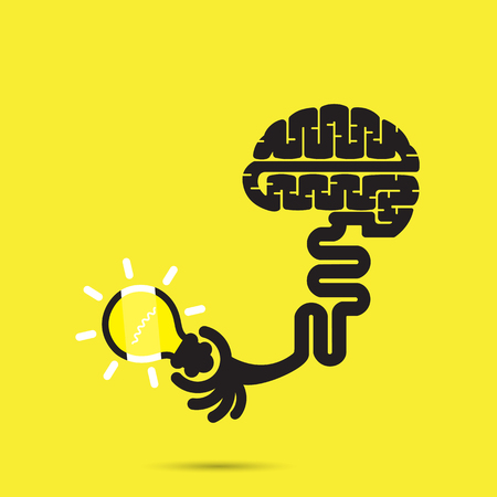 brainstorm: Brain icon and light bulb symbol. Creative brainstorm and knowledge concept. Business and education idea, innovation and solution, creative design.Vector illustration