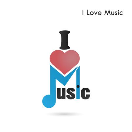 key words art: Creative music note abstract vector design. Musical creative symbol. I love music concept. Vector illustration Illustration