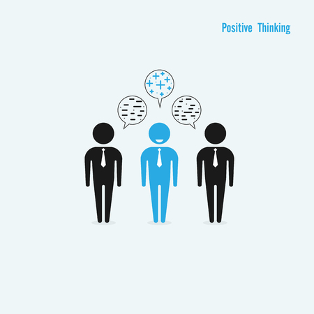 good cheer: Businessman with positive thinking and Businessman with negative thinking.Businessman standing out from the crowd.Capability and leadership concept.Positive thinking concept.Business idea.Vector illustration Illustration