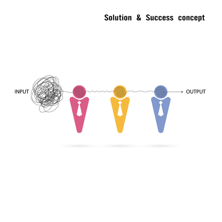 input output: Businessmans with group problem solving and teamwork idea concept.Solution and teamwork idea.Capability and partnership concept.Business and education idea.Vector illustration