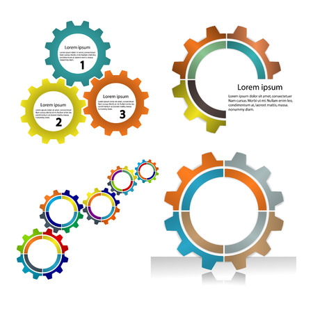 Meshing gear on white background,industrial driving.Business and industrial concept.Vector illustration