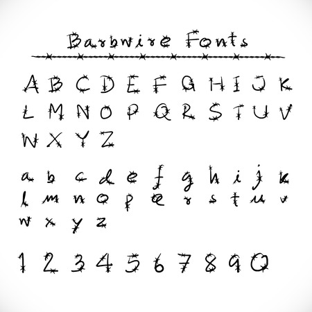 barbwire: Barbed Wire Alphabet and Fonts.Number alphabet barbwire font style. Vector illustration.