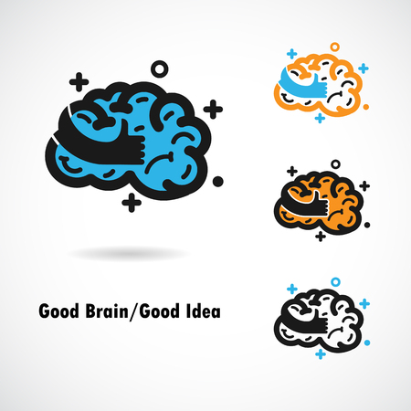 best hand: Creative brain logo design vector icon with best hand sign.Best idea,good brain,good idea sign.Education and business logotype concept. Vector illustration
