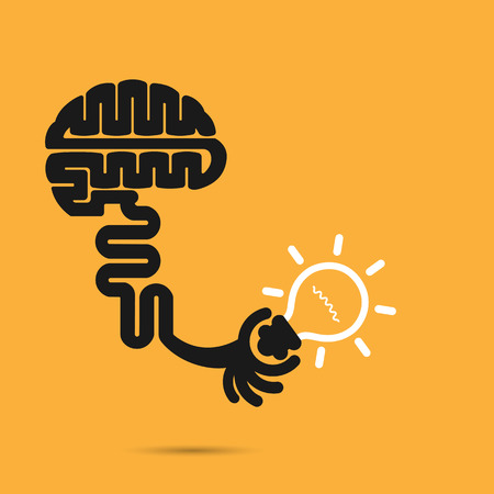 technology symbols metaphors: Brain icon and light bulb symbol. Creative brainstorm and knowledge concept. Business and education idea, innovation and solution, creative design.Vector illustration