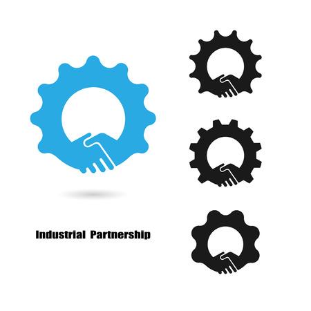 logo handshake: Creative handshake logo and industrial idea concept background,business idea ,industrial sign,abstract background.vector illustration Illustration