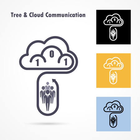 Tree and cloud logo vector design template. Computer and data transfer symbol. Business and technology concept.Vector illustration