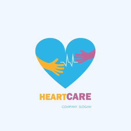Healthcare & Medical symbol with heart shape.Heart Care logo,vector logo template.Vector illustration Illustration
