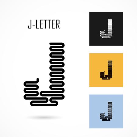 j: Creative J- letter icon abstract logo design vector template.Creative J- alphabet vector design.Business and education creative logotype symbol.Vector illustration Illustration