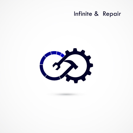 industrial element: Infinite repair logo elements design.Maintenance service and engineering creative symbol.Business and industrial concept.Vector illustration