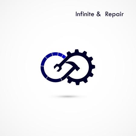signo infinito: Servicio de reparación de elementos del logotipo design.Maintenance infinita e ingeniería symbol.Business creativa e ilustración concept.Vector industrial