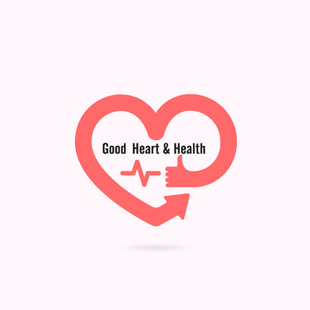 heart health: Heart shape and human hand symbol with Electrocardiogram signal.Heart Care logo.Healthcare & Medical concept.Vector illustration