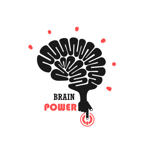 power of thinking: Turn on Creative Light Bulb concept.Brain Logo design vector template.Think Idea concept.Brainstorm Power Thinking Brain icon. Business idea and Education concept. Vector illustration Illustration