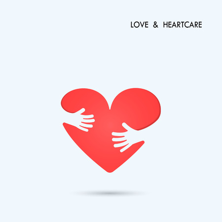 Love Heart Care logo.Healthcare & Medical symbol with heart shape.Vector illustration 向量圖像