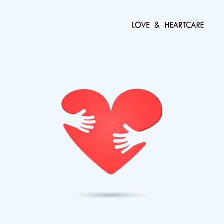 Love Heart Care logo.Healthcare & Medical symbol with heart shape.Vector illustration Illustration