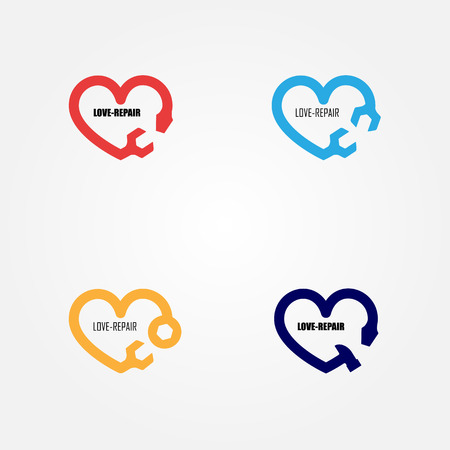 business partner: Love-Repair logo elements design.Maintenance service and engineering creative symbol.Business and industrial concept.Vector illustration Illustration