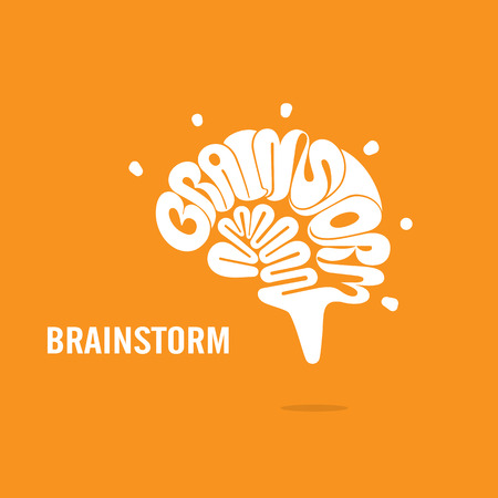 brainstorm: Creative Brain sign and Brainstorm concept.Brain logo vector design.Think Idea concept.Brainstorm Power Thinking Brain icon.Business idea and Education concept. Vector illustration
