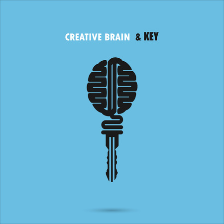 inspiration education: Creative brain sign with key symbol. Key of success.Concept of ideas inspiration, innovation, invention, effective thinking and knowledge. Business and education idea concept. Vector illustration.