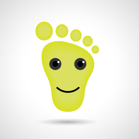big toe: Funny feet emoticon icon. Feet emotions sign. Vector illustration