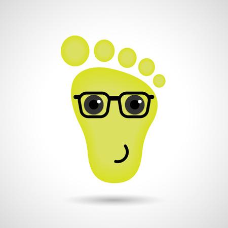 Funny feet emoticon icon. Feet emotions sign. Vector illustration