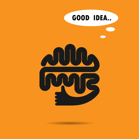 brain icon: Brain silhouette design template.The best idea .Good idea .Brain and hand .Think idea concept.Education and business concept.design template Illustration