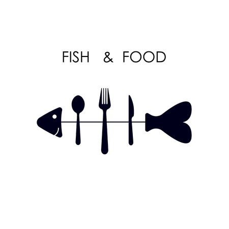 spoon fork: Fish,spoon,fork and knife icon. Illustration